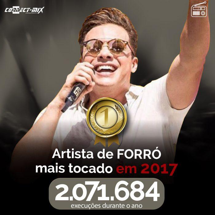 Safadão com o troféu de artista de forró mais tocado de 2017 no ranking Connectmix