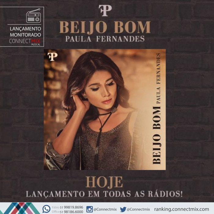 """Paula Fernandes lança """"Beijo bom"""" nas rádios do Brasil. O monitoramento musical é da Connectmix."""