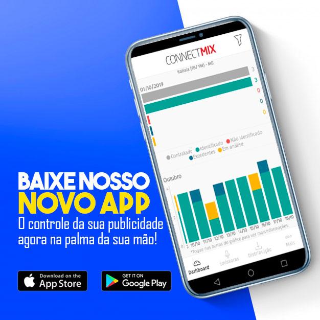 Novo app Connectmix de monitoramento publicitário